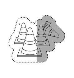 Sticker silhouette striped traffic cone set icon vector