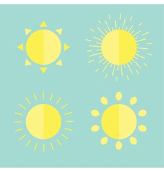 Sun set in flat design style Blue background vector image vector image