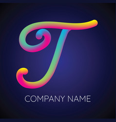 T letter logo icon blending color vector