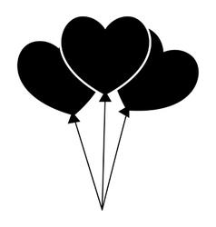 Three hearts icon simple style vector