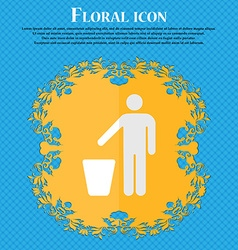 Throw away the trash floral flat design on a blue vector