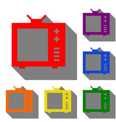Tv sign set of red orange yellow vector