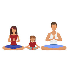 young white family yoga lotus vector image