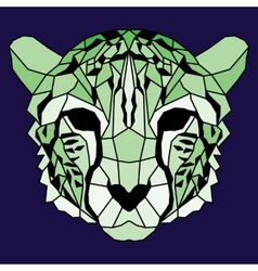 Green low poly lined cheetah vector