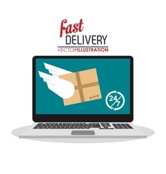 Computer wings box package delivery icon vector