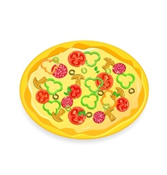 Fresh pizza icon with vegetables and pepperoni vector