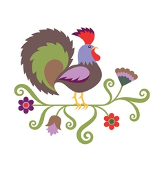 Folk art styled of rooster vector