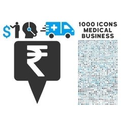 Rupee map pointer icon with 1000 medical business vector
