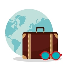Isolated bag and glasses of travel design vector