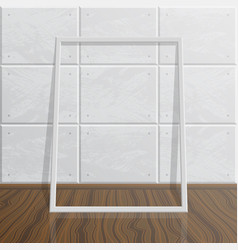 Realistic blank mock up frame on concrete wall vector