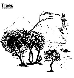 Trees collection ink herault france landscape vector
