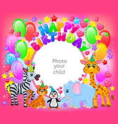 birthday party cute animal pink frame your baby vector image