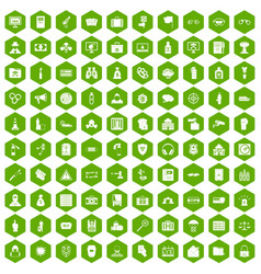 100 crime icons hexagon green vector