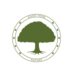 Green tree stamp vector