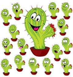 Cactus plant with many facial expression vector