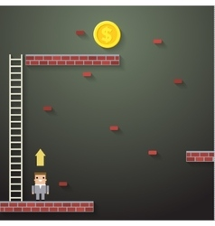 Businessmen climbing the ladder on dark vector