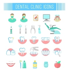 Dental clinic services flat icons on white vector