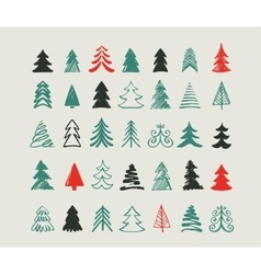 Hand drawn christmas tree icons and elements vector