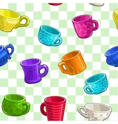 Seamless pattern with cartoon colorful cups vector