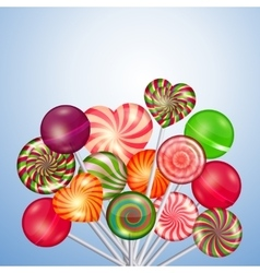 Candys sweets lollipops background vector