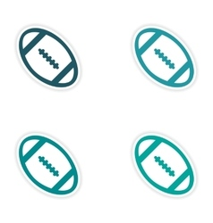Set of stickers rugby ball on white background vector