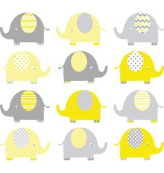 Yellow and grey cute elephant set vector