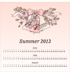 Calendar 2013 Summer vector image