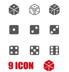 Grey dice icon set vector