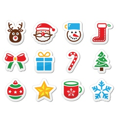 Christmas icons set as labels vector image