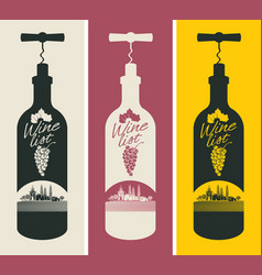 banners set with a bottle of wine and the church vector image vector image