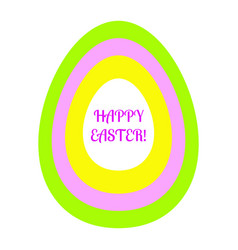 Beautiful flat easter egg of green pink yellow and vector