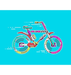 Bicycle moving fast on bright blue backgr vector
