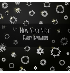 Black classic colored invitation on new year party vector