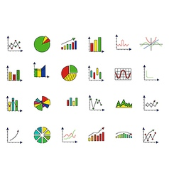 Charts colorful icons set vector image vector image