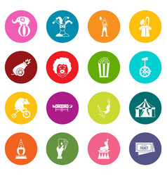 circus entertainment icons many colors set vector image vector image