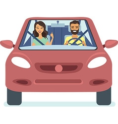 couple driving the red car vector image vector image