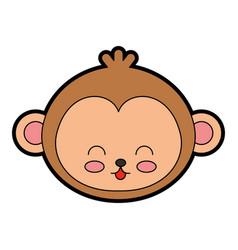 Cute monkey face cartoon vector