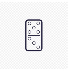 Domino game simple line icon game thin linear vector