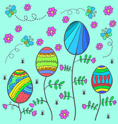 Doodle of easter with flower and egg vector