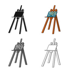 Easel with masterpiece icon in cartoon style vector