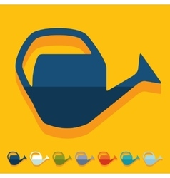 Flat design watering can vector