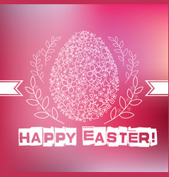 Floral white easter egg on pink background vector