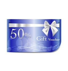 Gift Voucher blue card with ribbon and bow vector image