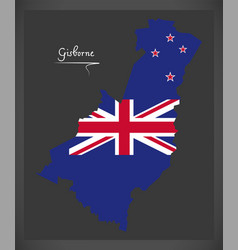 gisborne new zealand map with national flag vector image vector image