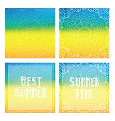 Gradient backgrounds with mandala and summer cards vector