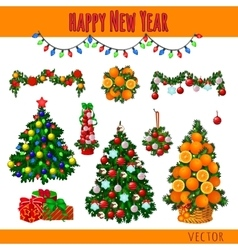 Great set of Christmas decorations and gifts vector image vector image