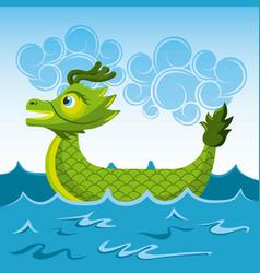 Green dragon chinese boat sea cartoon vector