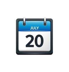 July 20 Calendar icon flat vector image vector image