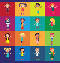 Kids of various ethnic groups isolated vector