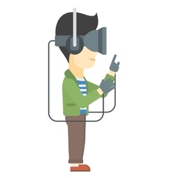 Man wearing virtual reality headset vector image vector image